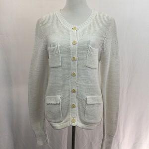 J. Crew White Mixed Stitch Cardigan Knit Sweater